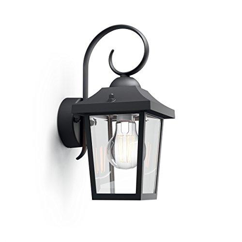 Philips Lighting Black Wall Light Buzzard Lampada da Parete Plafoniera Illuminazione Giardino Ambienti Esterni Design, Alluminio, Nero, 13 x 17.5 x 29 cm