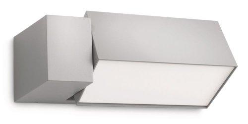 Philips Lighting Border Lampada da Parete per Esterno, Alluminio Grigio, Lampadina RE 23 W Inclusa