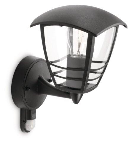 Philips Lighting Creek Lampada da Parete da Esterno, con Sensore, Lanterna Up, Alluminio, Nero