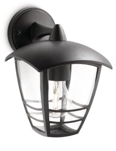Philips Lighting Creek, Lampada da Parete per Esterno, Lanterna Down, Alluminio Nero, Lampadina non Inclusa