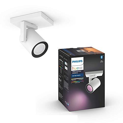 Philips Lighting Hue Argenta White and Color Ambiance Faretto Connesso, con Bluetooth, 1 Punto Luce, GU10, 5.7 W, Bianco