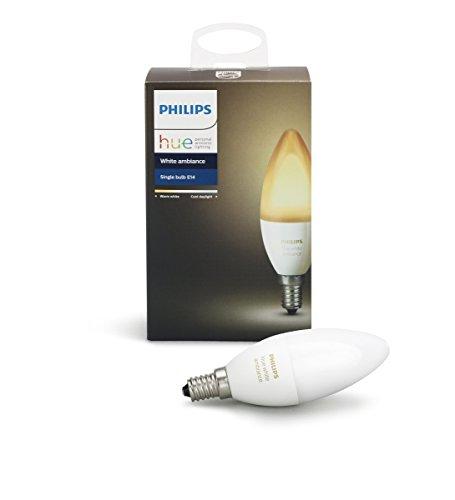 Philips Lighting Hue White Ambiance Lampadina LED Smart, Dimmerabile, Tutte le Sfumature della Luce Bianca, Compatibile con Alexa e Google Home E14, 6 W, 1 Pezzo