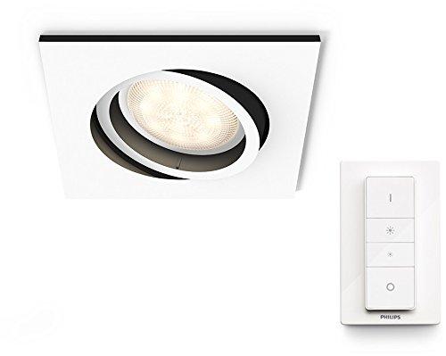 Philips Lighting Hue White Ambiance Milliskin Faretto da Incasso, con Telecomando Dimmer Switch, Lampadina LED Inclusa GU10, 5.5 W Equivalenti a 25 W, Quadrato, Bianco