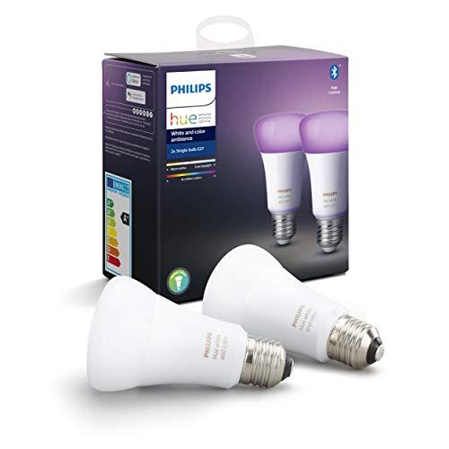 Philips Lighting Hue White and Color Ambiance Lampadine LED Singola Connessa, con Bluetooth, Attacco E27, 9 W, 2 Pezzi, Dispositivo Certificato per gli umani