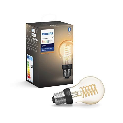 Philips Lighting Hue White Filament A60 Lampadina a Flamento Connessa, con Bluetooth, Dimmerabile, Attacco E27, 9 W, 1 Pezzo