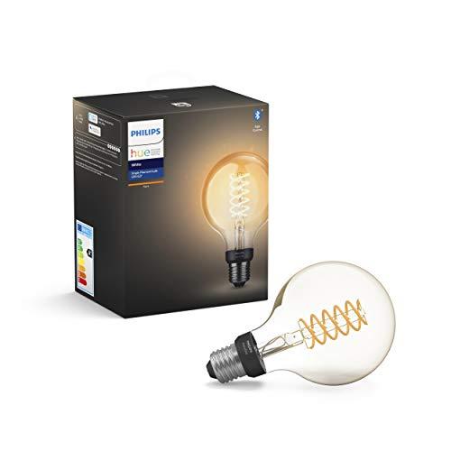 Philips Lighting Hue White Filament G93 Lampadina a Flamento Connessa, con Bluetooth, Dimmerabile, Attacco E27, 7 W, 1 Pezzo, 2100K