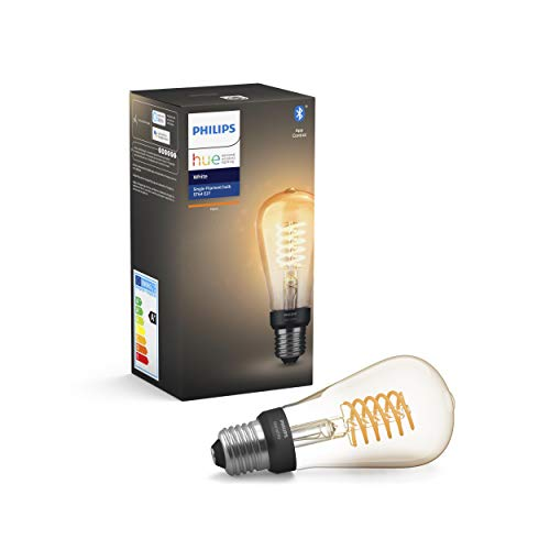 Philips Lighting Hue White Filament ST64 - Lampadina a Flamento Connessa, con Bluetooth, Dimmerabile, Attacco E27, 7W, 1 Pezzo