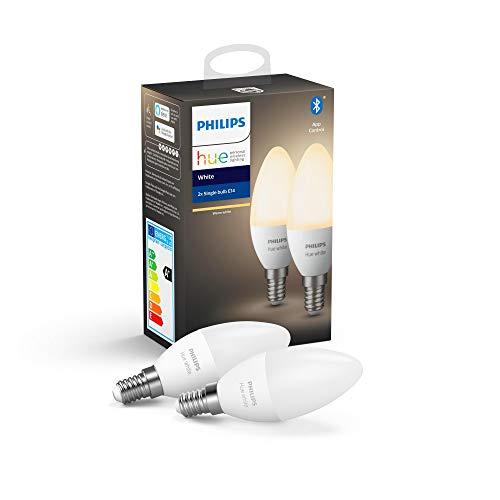 Philips Lighting Hue White Lampadine LED, con Bluetooth, Attacco E14, Dimmerabile, Luce Bianco, 2 Pezzi