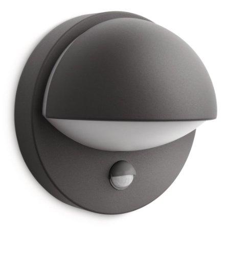 Philips Lighting June Lampada da Parete Down con Sensore per Esterno, Alluminio Antracite, Lampadina Inclusa
