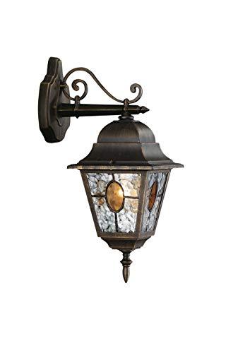 Philips Lighting München Lampada da Parete, Lanterna da Esterno Down, Vetro Smerigliato, Nero Anticato, Alluminio