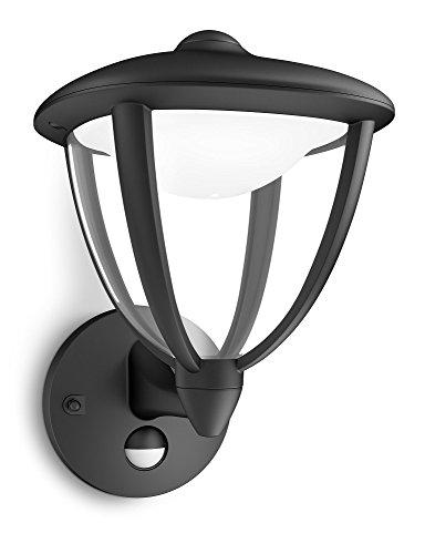 Philips Lighting Robin Lampada da Parete LED Up con Sensore di movimento per Esterni Giardino, Nero