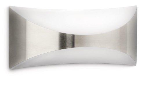 Philips Lighting Seedling Lampada da Parete da Esterno, Rettangolare, Curva Up & Down, Acciaio Inox, Lampadina Inclusa
