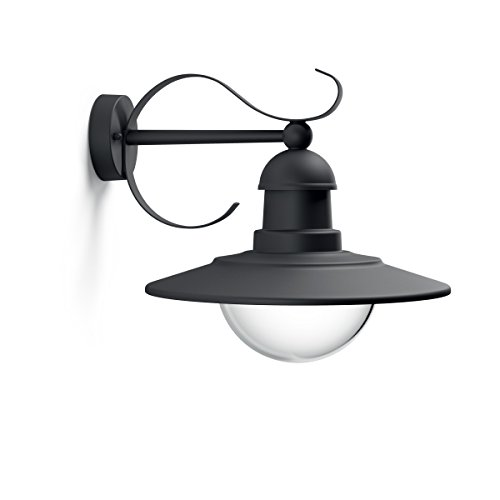 Philips Lighting Topiary, Lampada da Parete per Esterni, Vintage Design, Dimmerabile, Nero