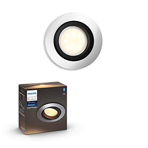 Philips Lighting White Ambiance Milliskin Faretto da Incasso, Lampadina Smart LED Inclusa, con Bluetooth, Attacco GU10, 6.5W Equivalenti a 50W, Rotondo 6.5 W, Alluminio, Tondo
