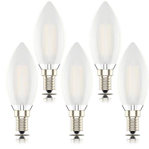 Phoenix-Lampadina LED E14 Luce Calda,Smerigliato guscio di vetro,Dimmerabile Filamento Candela,4W Equivalenti a 40W,Bianco Caldo 2700K,400lm (Pacco da 5)