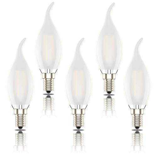 Phoenix-Lampadine LED E14 Luce Calda,Dimmerabile Lampadine a Fiamma Filamento,Smerigliato guscio di vetro,Bianco Caldo 2700K,4W Sostituisce 40W,400lm (Pacco da 5)