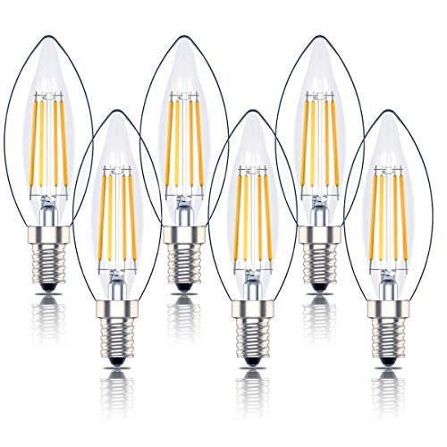 Phoenix-Led E14 Dimmerabile Luce Calda,Lampadina Filamento,Retro a Forma di Candela, 4W Equivalenti a 40W,2700K,400lm, Pacco da 6