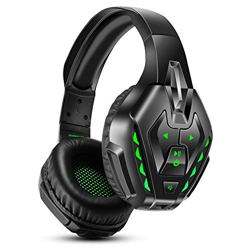 PHOINIKAS Cuffie Gaming PS4, Cuffie Wireless Bluetooth con surround 7.1 per bassi, Cuffie da Gioco con Microfono per Xbox One, PC, Nintendo Switch - Verde