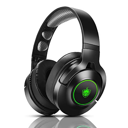 PHOINIKAS Cuffie wired Gaming PS4, Cuffie da Gioco con Microfono per Xbox One, PC, Nintendo Switch, Cuffie Wireless Bluetooth con surround 7.1 per bassi, Ruotabile Ear Cups, Luce LED - Verde