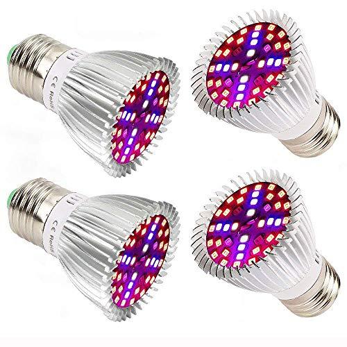 Piante Lampada a LED, 4 pezzi 40W E27 Grow Bulbs per Semina, Crescita, Fioritura e Fruttificazione