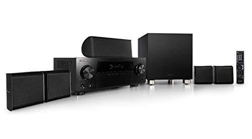 Pioneer HTP-074(B) 5.1 Sistema Home Cinema con ricevitore AV e set di diffusori (100 Watt/canale, Multiroom, Dolby TrueHD, Bluetooth, Radio, USB/Audio frontale in, modalità Eco), nero