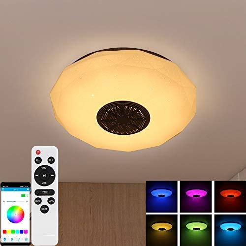 Plafoniera a led, Plafoniera Smart Bluetooth Music Luce Cambiante di Colore RGBW Dimmerabile per musica 18W, cambio con APP e telecomando Lampade da camera a luce dimmerabile Lampada da soffitto