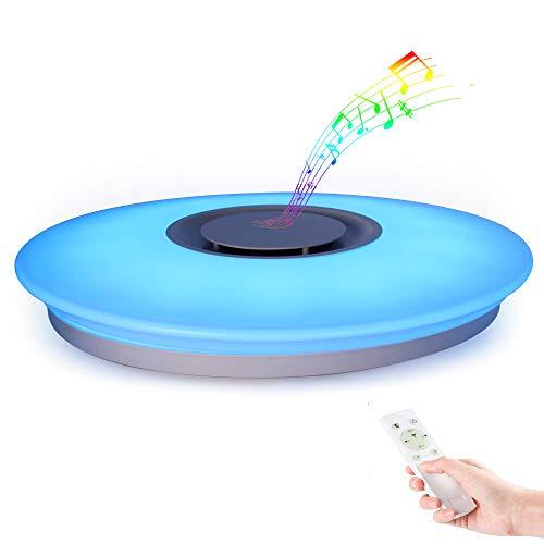 Plafoniera a LED Soggiorno Dimmerabile Soffitto Lamp + Musica il Bluetooth Oratore, 24W Lampada con telecomando Cucina acrilica Sala da pranzo Ufficio scala Soggiorno Lampadari per Feste Yoga Relax
