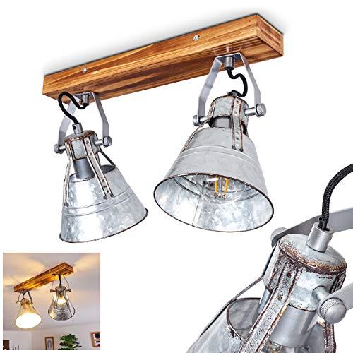 Plafoniera Berkeley Dark, lampada da soffitto regolabile in metallo e legno in zinco, 2 luci, paralumi girevoli e orientabili, 4 x attacco E27, max. 60 Watt, faretti in design retrò, adatto a LED