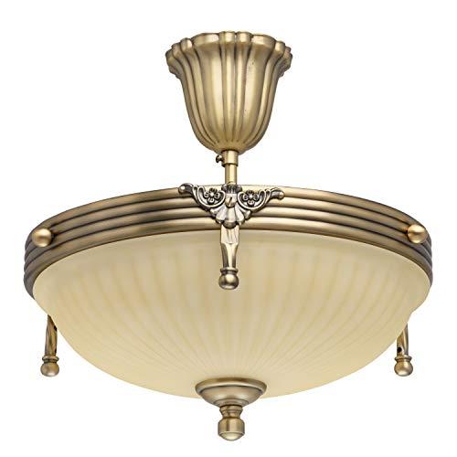Plafoniera classica in metallo color ottone e vetro, 3 luci, Ø 32 cm, E14 3 x 60 W, 230 V