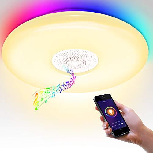 Plafoniera con altoparlante Bluetooth, Wi-Fi, controllo vocale, per soggiorno, 36 W, LED RGB, ritmo con musica, sincronizzazione musica, camera da letto, dimmerabile