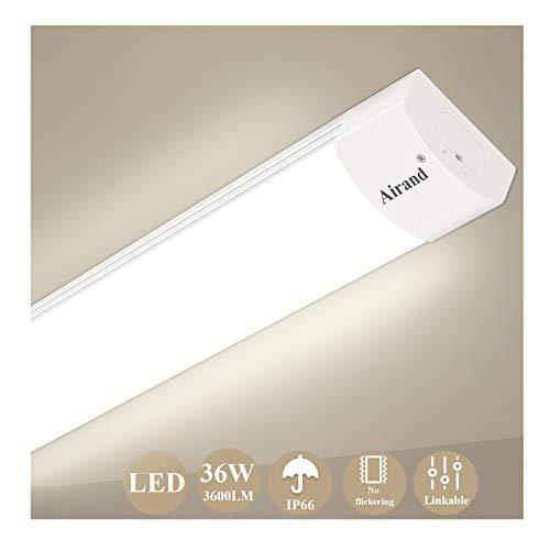Plafoniera da Officina, Airand 120CM 36W LED IP66 Luminaire Officina luce 4000LM Officina LED Tubo Lampada Impermeabile Luce per Garage Ufficio Supermercato Cantina Reparto Bagno Cucina