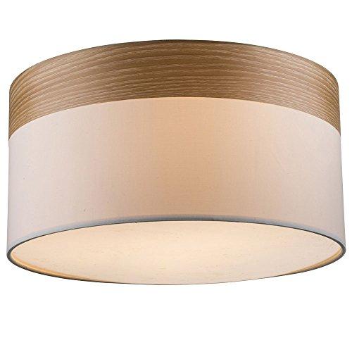 Plafoniera design lampada da salotto tessuto schermo faro in legno beige Globo 15221D