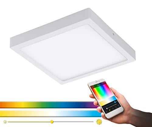Plafoniera EGLO connect LED FUEVA-C, plafoniera Smart Home, materiale: metallo colato, plastica, colore: bianco, lunghezza: 30 x 30 cm, dimmerabile, tonalità di bianco e colori regolabili