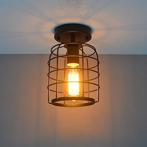 Plafoniera Lampadario, Vintage industriale lampada da soffitto, Lampada a Sospensione in metallo nero gabbia ferro Forma E27 Base per corridoio, portico, camera da letto,