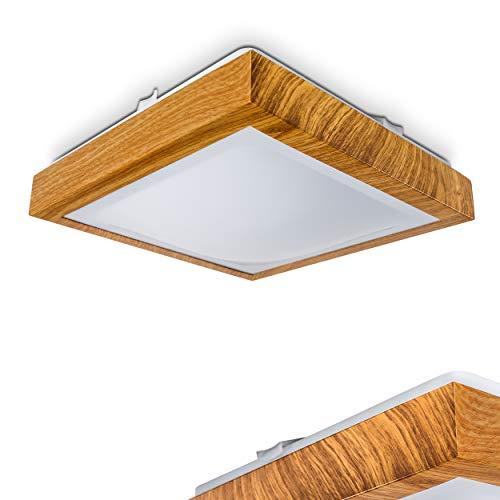 """Plafoniera LED quadrata""""Sora Star"""" - 900 Lumens 12 Watt 3000 Kelvin con decorazione in legno - adatta per il bagno"""