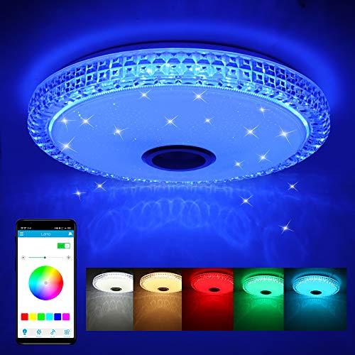 Plafoniera LED Soffitto 72W con Altoparlante Bluetooth, Lampada musicale con cambio colore con telecomando e controllo APP, Ø40 cm Plafoniere Dimmerabili per soggiorno, camera dei bambini