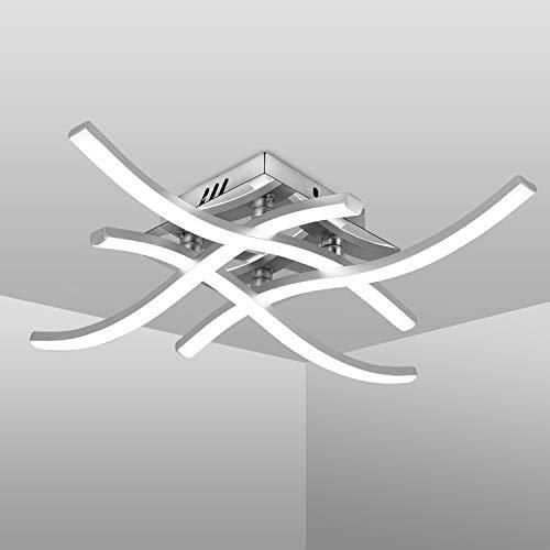 Plafoniera LED Soffitto, Lampadario Soggiorno dal Design ondulé, Luce Bianca Neutra 4000K, LED Integrati 24W 4x 380Lm, Lampada da Soffitto Moderni per Salotto, Cucina o Camera da Letto (Luce Bianca)