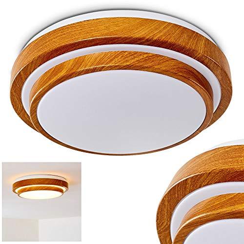 Plafoniera LED Sora rotonda di colore simil-legno, Lampada da soffitto con 2-gradini/livelli, Lustro moderno per bagno, salotto, camera da letto - 3000 Kelvin luce bianca calda, 1380 Lumen, 18 Watt