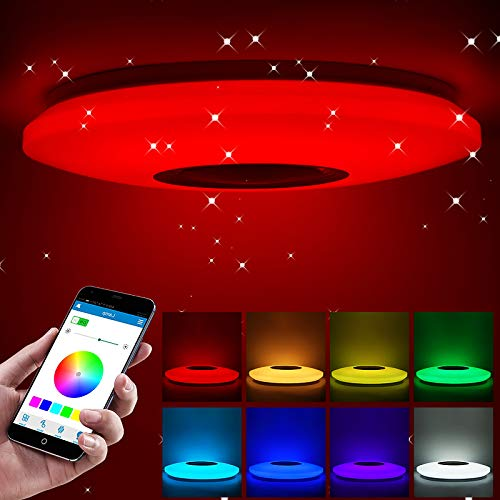 Plafoniera musicale a LED, SUNASQ Smart RGB cambia colore Dimmerabile Bluetooth APP integrato Telecomando Luce moderna per bagno, cucina, corridoio, ufficio.