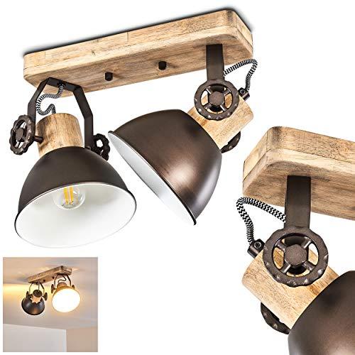 Plafoniera Orny, in metallo/legno antracite/bianco/marrone, a 2 luci, con faretti orientabili, 2 lampadine E27 max. 60 Watt, retrò/vintage, adatta per lampadine a LED