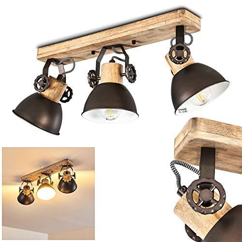 Plafoniera Orny,in metallo/legno antracite/bianco/marrone, a 3 luci, con faretti orientabili, 3 lampadine E27 max. 60 Watt, retrò/vintage, adatta per lampadine a LED