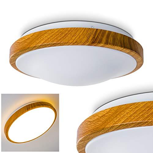 """Plafoniera rotonda LED""""Sora"""" in legno 1380 Lumens 18 Watt 3000 Kelvin bianco caldo - adatta per il bagno"""