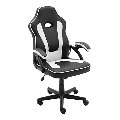 play haha, Sedia da gaming in stile racing da ufficio, girevole, per computer, sedia da conferenza ergonomica, con supporto lombare, in similpelle, regolabile con alzata a gas, certificazione