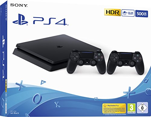 PlayStation 4 Slim 500GB F Chassis, Jet Black + 2° Dualshock 4 [Edizione: EU]