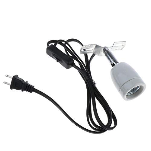 POFET - Supporto per lampada da rettile, con attacco E27, 400 W, girevole in ceramica, con interruttore e clip per lucertola e rettile