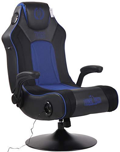 Poltrona Racing Nevers Con Sistema Bluetooth E Altoparlante Musica Integrato I Sedia Lounge Gaming Girevole In Similpelle Con Porta USB, Colore:nero/blu
