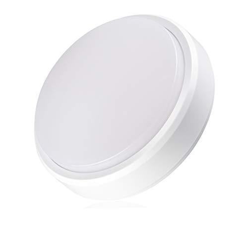 POPP® Appliques Lampade da soffitto LED Bulkhead bianco rotondo ovale 8 W 12 W 16 W Luce neutra 4000 K interno esterno IP65 per bagno cucina balcone corridoio (Redondo, 16 Watt)