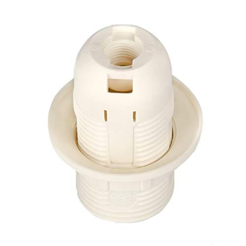 Portalampada E14 in plastica (PBT), attacco filettato con anello di montaggio bianco (RAL 9003)
