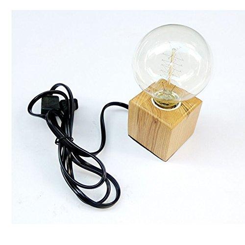 Portalampada E27 in legno quadrato lampada da tavolo presa EU standard illuminazione decorativa per ufficio, casa, bar, ristorante (quadrato)