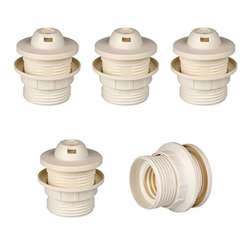 Portalampada E27 in plastica (PBT), attacco filettato con colletto fisso e anello di montaggio, Bianco